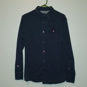 Globe button down shirts mens medium navy